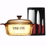 康寧VISIONS 2.25L晶彩透明玻璃湯鍋+康寧刀具三件組VS22CCMBS3P/JD