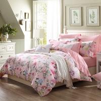 梦洁家纺出品 MEE 床品套件 纯棉印花四件套 全棉床单被罩 凯莉花园 粉 1.8米床 220*240cm