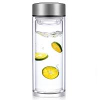 然也(RAE) 400ml加厚耐熱玻璃雙層玻璃水杯 車載防漏過濾 男女泡茶情侶水晶杯 R9350 本色