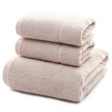 三利 長絨棉A類標準 素色良品毛巾2條+浴巾1條 三件組合裝 平布接縫 隨心裁剪多規格巾類 桜色