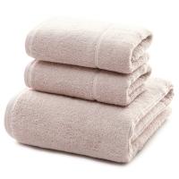 三利 长绒棉A类标准 素色良品毛巾2条+浴巾1条 三件组合装 平布接缝 随心裁剪多规格巾类 桜色