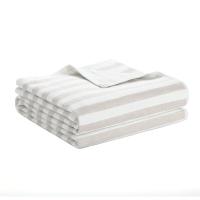 佳佰 浴巾 纯棉 彩条双层 米色 单条装