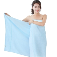 竹之锦 毛巾家纺 竹纤维纯色柔软吸水生态至简大浴巾 蓝色 360g/条 70×140cm