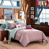 LOVO罗莱生活出品  全棉斜纹四件套 床单被套 格调空间 粉绿色200*230cm