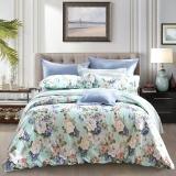 梦洁家纺出品 MEE 床品套件 纯棉印花四件套 全棉床单被罩 泽西岛 海岩绿 1.5米床 200*230cm