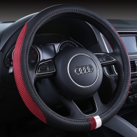 YooCar 汽车方向盘套 夏季方向盘套汽车把套方向盘套冰丝 黑红色 中号