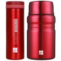 嘉鸿美居 焖烧杯闷烧罐男女304不锈钢保温杯食物罐便携保温饭盒送套包折叠勺 520ML 炫光红