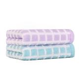 佳佰 毛巾 純棉 面巾洗臉巾 無捻色織格子 兩條裝(藍、紫各一條)