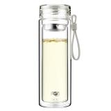 富光 格雅系列玻璃杯 糖果色双层带茶隔玻璃水杯泡茶杯 男女士创意便携水杯子 320ml 米白色(WFB1012-320)