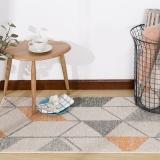 佳佰 北歐簡約幾何時尚百搭客廳地毯茶幾地毯 臥室床前毯 桔色魚骨紋-JB-M-01-1 60CMX110CM
