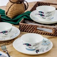 SKYTOP斯凯绨 碗盘碟陶瓷欧式骨瓷餐具套装 8头午后时光