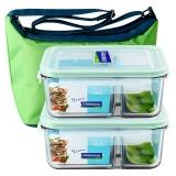 三光云彩glasslock韩国进口分隔钢化玻璃饭盒微波炉碗冰箱保鲜盒密封便当盒两件套/GL13M