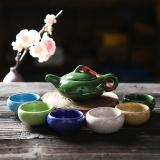 言艺 茶具套装 功夫茶具1壶6杯 冰裂多彩茶具