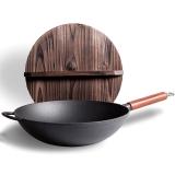 铸味(Jill May)33cm炒锅铸铁锅平底铁锅电磁炉通用木盖款