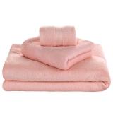 竹之锦 毛巾家纺 竹纤维加厚素色吸水淳质方巾毛巾浴巾3件套 粉色