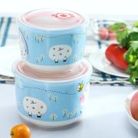 根因陶瓷密封保鲜碗两件套加深加大款1100ML+1800ML 微波炉饭盒保鲜盒便当盒面碗蓝色