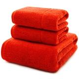 三利 长绒棉A类标准 素色良品毛巾2条+浴巾1条 三件组合装 平布接缝 随心裁剪多规格巾类 绯红色