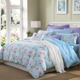 梦洁家纺出品 MEE 床品套件 纯棉印花四件套 全棉床单被罩 凯莉花园 蓝 1.8米床 220*240cm