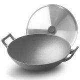 炊大皇 炒鍋 32cm圓底鐵鍋 不銹鋼鍋蓋 中式雙耳加厚鑄鐵鍋 明火燃氣煤氣灶專用