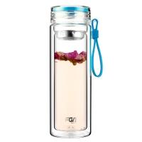 富光 格雅系列玻璃杯 糖果色双层带茶隔玻璃水杯泡茶杯 男女士创意便携水杯子 320ml 天蓝色(WFB1012-320)