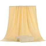 竹之錦 毛巾家紡 竹纖維純色柔軟吸水生態至簡大浴巾 黃色 360g/條 70×140cm