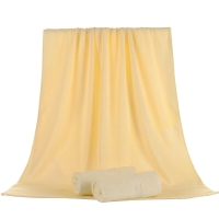 竹之锦 毛巾家纺 竹纤维纯色柔软吸水生态至简大浴巾 黄色 360g/条 70×140cm