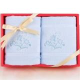 梦特娇(Montagut)毛巾家纺 高低毛绣花毛巾礼盒两条装 精致礼品 简约大方 蓝色 26.5*18.5*5.5cm