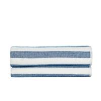 【新品】佳佰 浴巾 纯棉 彩条 双层 蓝色 单条装  京东自营【京东自有品牌】