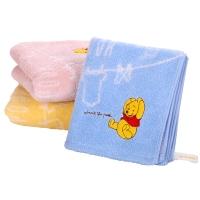 迪士尼(Disney)毛巾家纺 维尼熊无捻纱面巾三条装 A类纯棉 加厚加大 婴儿童可爱卡通 蓝粉黄 104g 34x75cm