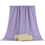 竹之锦 毛巾家纺 竹纤维纯色柔软吸水生态至简大浴巾 紫色 360g/条 70×140cm