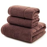 三利 長絨棉A類標準 素色良品毛巾2條+浴巾1條 三件組合裝 隨心裁剪多規格巾類 丁子茶色