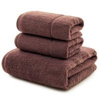 三利 长绒棉A类标准 素色良品毛巾2条+浴巾1条 三件组合装 随心裁剪多规格巾类 丁子茶色