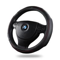 WRC 汽车方向盘套3D运动把套 车用头层牛皮真皮透气吸汗防滑 四季通用 38厘米 中号 黑色