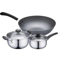 爱仕达 家系列锅具三件套锅JX03CTN 不锈钢锅具套装炒锅套装含汤锅奶锅