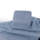 竹之锦 毛巾家纺 竹纤维加厚素色淳质浴巾 加厚加柔款 灰蓝色 588g/条 70×140cm