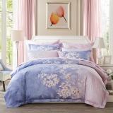 LUOLAI罗莱家纺 224纱支纯棉四件套 全棉床上用品床品套件床单被罩 WD5006晨暮间 200*230