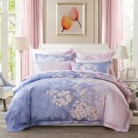 LUOLAI羅萊家紡 224紗支純棉四件套 全棉床上用品床品套件床單被罩 WD5006晨暮間 200*230
