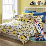 梦洁家纺出品 MEE 床品套件 纯棉印花三件套 卡通床单被罩 小黄人 香蕉合唱团 1.2米床 150*200cm