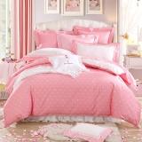 梦洁家纺出品 DreamCoCo 床品套件 纯棉斜纹四件套 全棉床单被罩 甜心波点 粉红 1.8米床 220*240cm