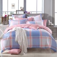 多喜爱(Dohia)床品套件 全棉条格简约双人加大四件套 床笠款 英伦时光 1.5米床 200*230cm