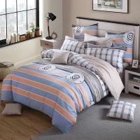 多喜爱(Dohia)床品套件 全棉斜纹双人四件套 床单款 摩卡庄园 1.5米床 200*230cm