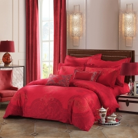 LUOLAI羅萊家紡 208紗支純棉四件套 婚慶全棉床上用品床品套件床單被罩 DE99 200*230