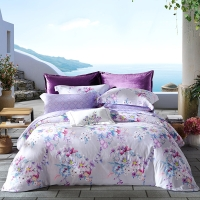 梦洁家纺出品 MAISON 床品套件 纯棉磨毛印花四件套 床单被罩 圣托里尼 1.8米床 248*248cm