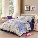 夢潔家紡(MENDALE)床品套件 60支高密純棉貢緞四件套 床單被罩 紫蝶翩翩 1.5米床 200*230cm