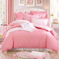 梦洁家纺出品 DreamCoCo 床品套件 纯棉斜纹四件套 全棉床单被罩 甜心波点 粉红 1.5米床 200*230cm