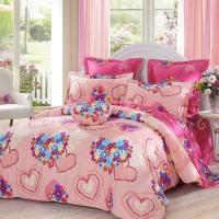 LOVO罗莱生活出品 纯棉四件套全棉床品套件床上用品床单被套 心心相印200*230cm
