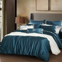 梦洁家纺出品 MAISON 床品套件 长绒棉绣花四件套 爱丽丝 月光蓝 1.8米床 248*248cm