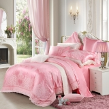 水星家纺 婚庆提花四件套粉色 百合盛典 床品套件床单被罩 1.5米床