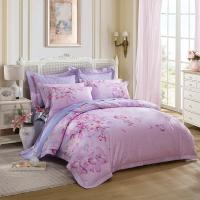 LUOLAI罗莱家纺 229纱支纯棉四件套 全棉床上用品床品套件床单被罩 DY6514那时花开 220*250