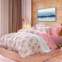 富安娜(FUANNA)家纺床上用品套件 纯棉床单四件套 汐颜 全棉1.8m床适用(230*229cm)粉色